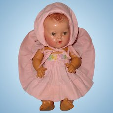 "Authentic Effanbee Dy-Dee Embroidered Sun Dress with Matching bonnet for 11"" Baby Doll"