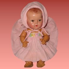 """Authentic Effanbee Dy-Dee Embroidered Sun Dress with Matching bonnet for 11"""" Baby Doll"""