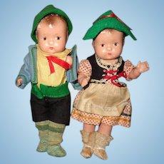 Effanbee Factory Orig White Horse Inn Tinyette Composition Dolls (Boy & Girl Set)