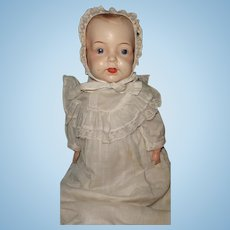 Early Factory Original Straw Stuffed Composition Baby Doll ~ Disc Jointed