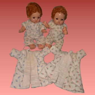 Effanbee Patsy Babyette Twin Composition Baby Dolls in Original PJs and Robe