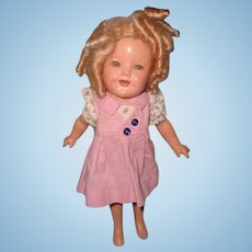 "TLC 11"" Ideal Shirley Temple Composition Doll for Parts or Repair"