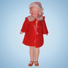 "German All Original 4"" Bisque Dollhouse Doll (Red)"