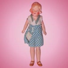 "German All Original 4"" Bisque Dollhouse Doll (Blue)"