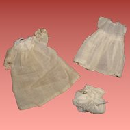 "3 Pc Long Baby Gown for Small 5""-6"" Bisque or Composition Doll"