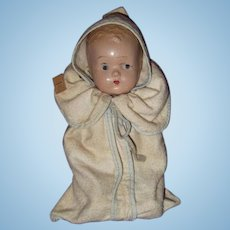 Dime Store Factory Composition Baby Doll in Bunting ~ Gift Giving Condition