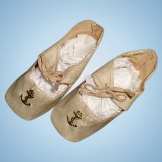 Nice German Oil Cloth Doll Shoes for Medium Composition or Bisque Doll