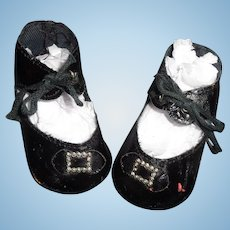 Black Oil Cloth Buckle Design Shoes for Larger Composition or Bisque Doll