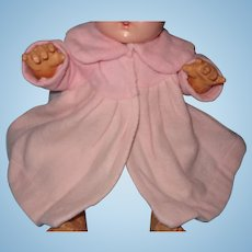 "Authentic Effanbee Dy-Dee Pink Plush Eiderdown Coat for 15"" Baby Doll"