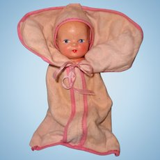 "Cute 7"" Composition Baby Bunting Doll"