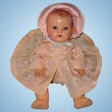 "Authentic Effanbee Dy-Dee Silk Coat and Bonnet for 11"" Baby Doll"