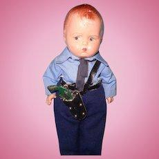 Effanbee Rare Policeman Grumpy Composition Doll~ Factory Original ~ Gift Giving Condition