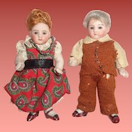 "Adorable German 3"" Kestner Grandma & Grandpa Factory Original Bisque Dolls"