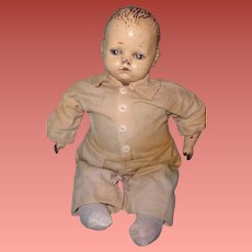 """Early 17"""" Composition Baby Boy Doll ~ Shabby Chic Look"""