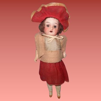 """Adorable Factory Original 8"""" Bisque Doll ~ Really Sweet"""