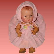 """Authentic Effanbee Dy-Dee Embroidered Yoke Sundress w/ Bonnet for 11"""" Baby Doll"""