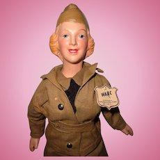 Freundlich WW11 WAAC Composition Doll ~ Tagged ~ Exc Cond