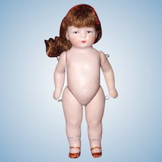 """Tiny All Bisque 3.5"""" German Doll"""