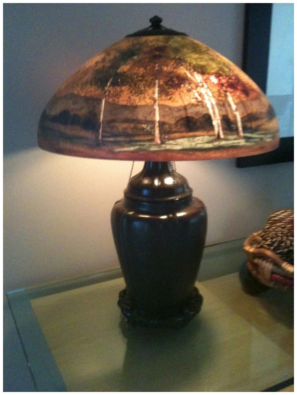 1 Handel Lamp Reverse Painted Scenic Lamp Number 7118a
