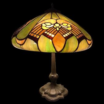 80-Whaley Art Deco Leaded lamp