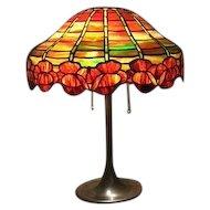 91-Unique Art Glass Co Leaded Lamp