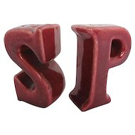 "Vintage Figural Letter ""S & P"" Salt and Pepper Shakers"
