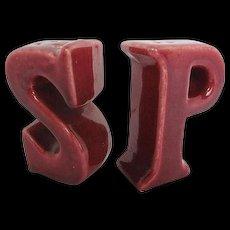 "Vintage Figural Letter ""S & P"" Salt and Pepper Shakers"