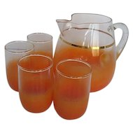 Vintage 32 oz. Brushed Orange to clear Glass Juice pitcher w/4 Matching juice glasses - 1960's era