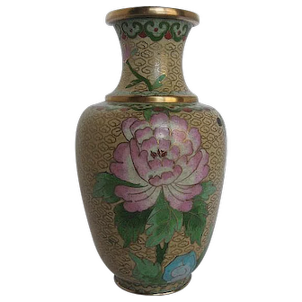 Chinese Cloisonne Yellow Enamel Floral w/Butterfly Vase