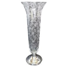 Cambridge Chantilly Rose Point Vase with Sterling weighted Base