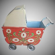 Pre WWII Vintage Tin Litho Dollhouse buggy - made in Germany
