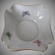 Limoges Porcelain Candy Dish/Small Serving Bowl with Hand-painted Butterflies & Gold Rim - made in France