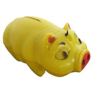 Vintage Wes-Ko of Los Angeles California Yellow Plastic Piggy Bank - 1950's era