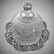 Vintage 1970 Avon Press Cut Diamond Glass Round Covered Butter - Cheese Dish