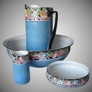 Antique Shelley of England 4pc. Porcelain Wash  Basin Set - RARE Hand-painted Fruit Pattern - Robin Egg Shell Blue - cira. 1916 - 1925