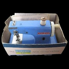 1940 Vintage Vulcan Regency Blue Child's sewing machine - Battery Operated - Original Box & Paper Instructions - made in England