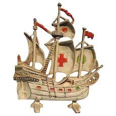 Vintage Cast Iron Red Cross Galleon Spanish Sailing Ship Door Stop