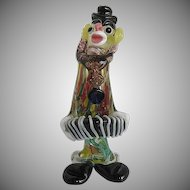 Murano Art Glass Clown Playing the Accordion w/Millefiori Body