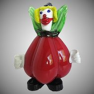 Murano Glass Clown Red Pepper Figurine - Hand blown - Paperweight