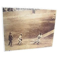"""Babe Ruth's 60th Home Run 1927 signed tinted framed Photo Copy - Print No. 5 - """"The 60th - Babe Connects"""""""