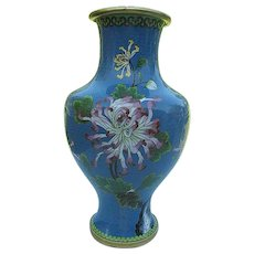 "Chinese Brass Cloisonne Floral w/bird Enameled Vase - 13"" Hand-painted"