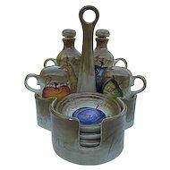 "Retired Tabletops Limited, ""Fruition"" Series Oil, Vinegar, Salt & Pepper set w/plates & Holder - Hand-painted"