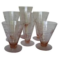 Five Pink Ribbed, Etched Depression Glasses - 1930's Era