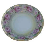 Vintage Austrian Pink Rose Serving Bowl - signed