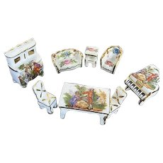 Limoges 8 pc. Miniature Hand-painted Porcelain Dollhouse Furniture Set - Made in France - Signed