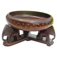 Handmade Walnut Wood Bowl w/inlay Design - with 3 Hand-carved Elephant pedestal - matching inlay - 2 pc.