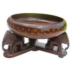 Handmade Walnut Wood Bowl w/inlay Design - with 3 Hand-carved Elephant pedestal - matching inlay - 2 pc.