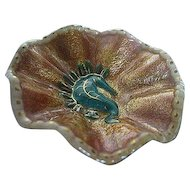 Hand-painted Limoges Trinket Dish - Seahorse design - signed by artist - made in France