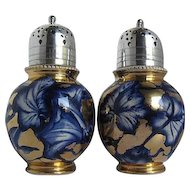 Antique 1896 Cobalt Blue & Gold Porcelain Footed Sugar Shakers w/Triple plated Silver lids- made in England
