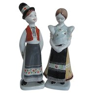 Holohaza Hand-painted Hungarian Porcelain Boy and Girl Figurines - made in Hungary - signed - numbered